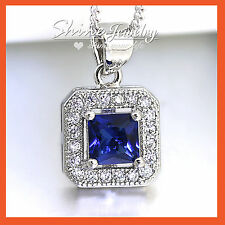 18K WHITE GOLD GF SQUARE BLUE SAPPHIRE LAB DIAMOND WEDDING NECKLACE PENDANT GIFT