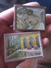 2 aquarelles miniatures pour collection ou déco poupée, watercolour paintings