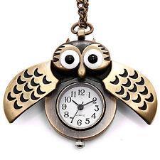 1× Vintage Bronze Retro Slide Owl Pendant Long Necklace Analog Pocket Watch