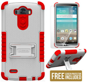 WHITE RED TRI-SHIELD SOFT SKIN HARD CASE STAND SCREEN PROTECTOR FOR LG G3 PHONE