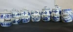 VINTAGE BLUE AND WHITE GERMAN SPICE JARS LOT OF 7 JARS AND 5 LIDS