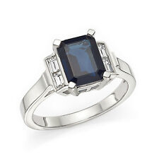 2.90 Ct Baguette Real Diamond Blue Sapphire Ring Gemstone 14K White Gold Size I