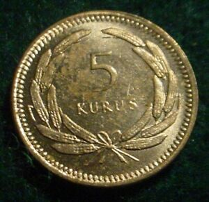 HI GRADE 1956 5 KURUS TURKEY**SUPERB DETAILED COIN