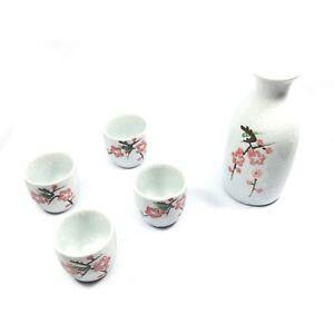 Japanese Sakura Design Porcelain Sake Set 1 Bottle and 4 Cups in Gift Box