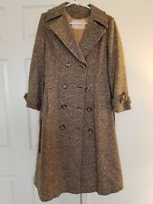 PENDLETON Wool Tweed Long Trench Coat  - Brown/Tan - Women's Small