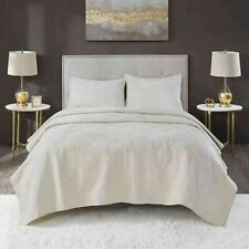 Lennox Velvet Full/Queen Quilt Set in Ivory