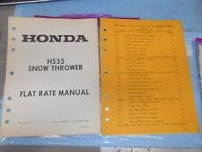 Honda 1982 HS35 Snow Thrower Flat Rate Manual