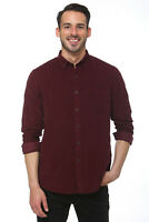 Elevani Men's Long Sleeve Regular Fit Classic Corduroy Dark Red Shirt