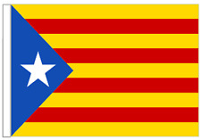 Catalonia Estelada Lone Star Sleeved Courtesy Flag for Boats 45cm x 30cm