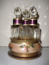 Exquisite antique Guilloche Enamel &Cut Glass Perfume 3 bottle set  Austria Lenk