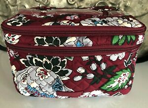 VERA BRADLEY~Iconic Brush Up Travel Cosmetic Case~BORDEAUX BLOOMS PATTERN~BNWT!
