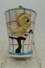 Vintage Ceramic Bird Cage Bank with Yellow Bird and Metal Hanger