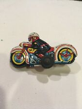 REDUCED NOMURA FRICTION MILITARY POLICE MOTORCYCLE VINTAGE TIN TOY  JAPAN