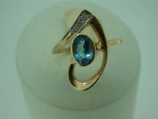 585er Gelbgold Ring Große 56 mit Topas  Brilianten Gewicht 3,4 Gramm