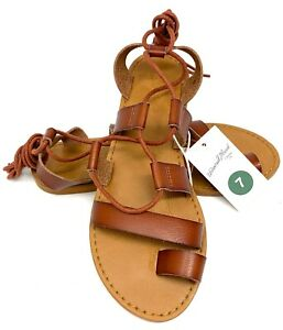Universal Thread Paige Womens Gladiator Sandals Brown Cognac Sizes 7  7.5  8.5