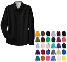 LADIES EASY CARE, WASH N WEAR, LONG SLEEVE, OPEN COLLAR, BUTTON UP SHIRT, S-6XL