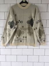 VINTAGE RETRO FISHERMAN 90'S BOLD URBAN COSBY CREW JUMPER PULLOVER LARGE #140