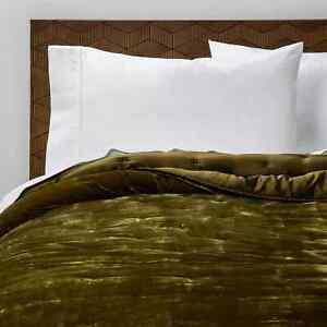 Opalhouse Moss Green Velvet Tufted Stitch Quilt KING