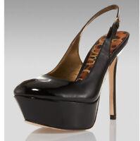 Sam Edelman 8.5 Platform Slingback Heels Black Patent Leather Novato
