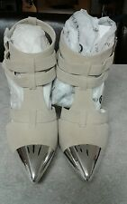 CHASE & CHLOE DUNES Women's Stiletto Heel Sandal w/ chrome mirror tip toe. SEXY!