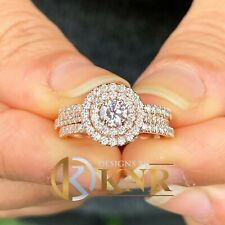 14k Rose Gold Natural Round Cut Diamond Engagement Ring And Two Bands 1.30ctw