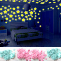 100PC New Plastic Kids Bedroom Fluorescent Glow In The Dark Stars Wall Stickers