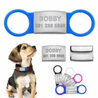 Engraved Dog Tags Pet ID Collar Tag Stainless Steel Slide On 3/4'' Dog Collars