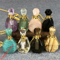 Natural quartz crystal Perfume bottles gemstone water bottle pendant healing 1pc