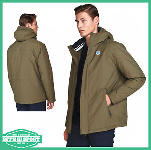 Giubbotto uomo invernale North Sails giacca casual con cappuccio e tasche verde