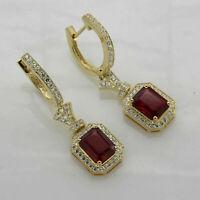 2 CT Emerald Cut Ruby 14k Yellow Gold Over Diamond Wedding Drop Dangle Earrings