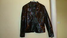 Womens Georgeous Etcetera Black Patent Leather w/Green Tint Jacket-8