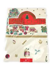 "Christmas Vinyl Flannel Backed Table Cloth Round 60"" Tree Ivory Green Red Gold"