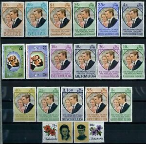 British Commonwealth 1973 Royal Wedding 19 MH Stamps #E35274