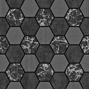 Fine Decor Hex Black Silver Marble Glitter Kitchen Bathroom Wallpaper FD42414