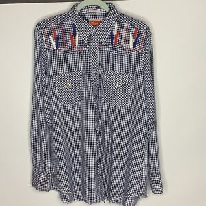 Vtg Ely Plains 16 1/2 35 Embroidered Blue White Pearl Snap Shirt Square Dance