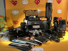 Olympus om1 Film camera lot OM-system f.zukio AUTO-S 50mm 1.8 Flash Bag Lens