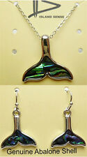 Hawaiian Abalone Shell Whale Tail Pendant Earrings Set Hawaii Islands Jewelry NB
