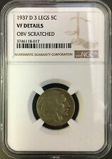1937 D 3 Legs Buffalo Nickel VF Details NGC
