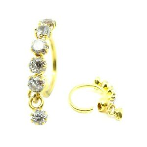 Real Gold Nose Ring hoop 14k Yellow Gold piercing nose ring ball closure
