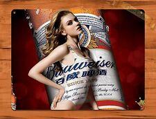 "TIN SIGN ""Bud Girl Calender Girl"" Vintage Pin Up Beer Budweiser"