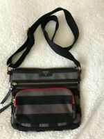 Fossil - Gorgeous black & gray striped canvas crossbody Bag
