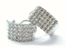 Four Row Natural Diamond Solid White Gold Huggie Earrings 14Kt 1.40Ct 18.7mm