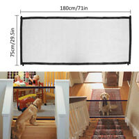 180*75cm Pet Dog Gate Retractable Safety Guard Mesh Baby Enclosure Stair Gate