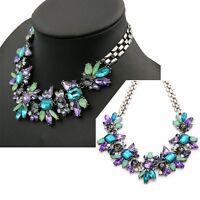 Modeschmuck Damen Kristall Blume Kette Halskette Statement Chunky Collier Choker