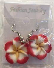 NEW Hawaiian Plumeria Red Flower Fimo Polymer Clay Pierced Fish Hook Earrings