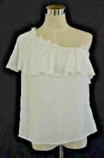 Hinge One-Shoulder Ruffle Top Size: M Women's Ivory Cloud 100% Soft Rayon NEW