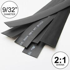"9/32"" ID Black Heat Shrink Tube 2:1 ratio wrap (6x9"" = 4 ft) inch/feet/to 7mm"