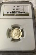 1962 ROOSEVELT SILVER DIME 10c NGC MS65 FT Full Tourch