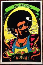 Original Vtg 1972 Black Light Velvet KEEP A PUFFIN Poster Drugs Dope  Afro Weed