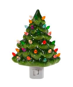 """Ceramic Christmas Tree Night Light 6 3/4"""""""